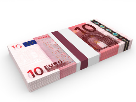 Pack of banknotes. Ten euros. 3D illustration. 版權商用圖片
