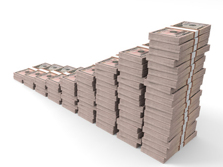money stacks: Money stacks graph. Fifty dollars. 3D illustration.