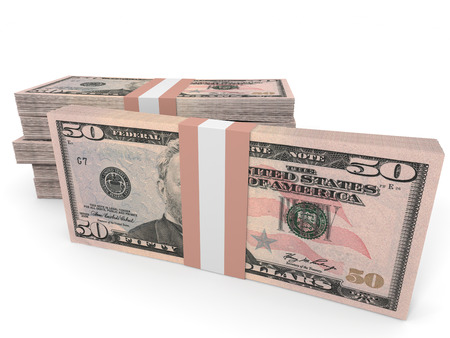 50 dollar bill: Stacks of money. Fifty dollars. 3D illustration.