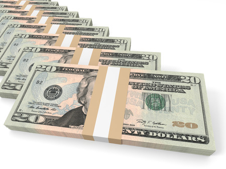 twenty: Stacks of money. Twenty dollars. 3D illustration. Stock Photo