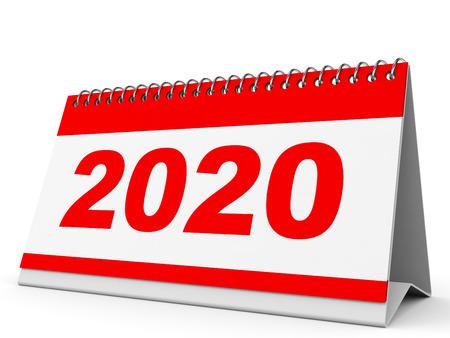 白い背景のカレンダー 2020 年。3 D イラスト。