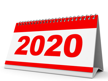 Calendar 2020 on white background. 3D illustration.