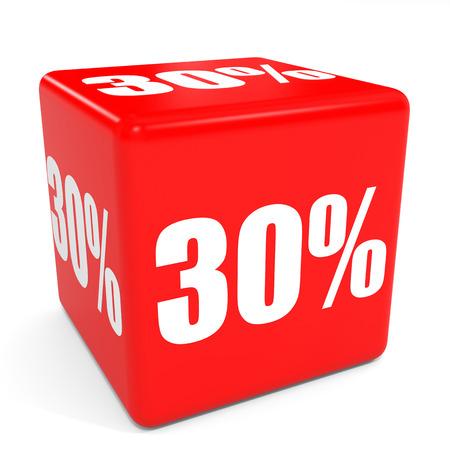 3D red sale cube. 30 percent discount. Illustation.
