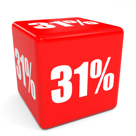 31: 3D red sale cube. 31 percent discount. Illustation.