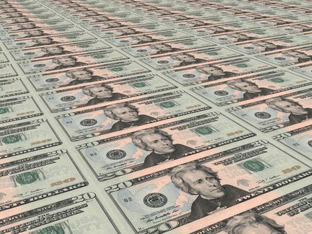 twenty: Twenty dollars background. Perspective view. Stock Photo