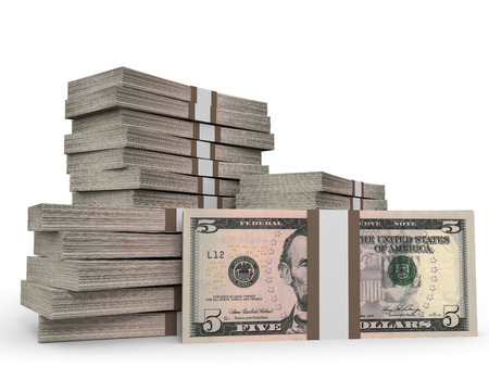 five dollars: Stacks of money. Five dollars. 3D illustration. Stock Photo