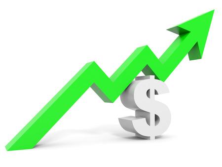 Graph up dollar sign arrow. 3D illustration. 版權商用圖片