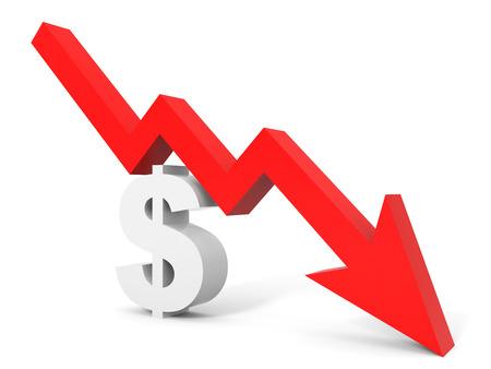 Graph down dollar sign arrow. 3D illustration.