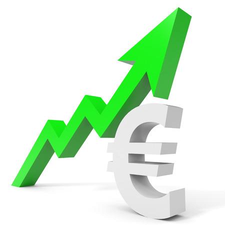 Graph up euro sign arrow. 3D illustration.