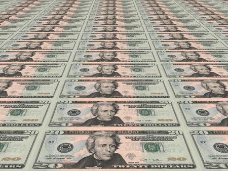 twenty: Dollar background. Twenty dollars. 3D illustration. Stock Photo