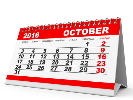 calendar october: Calendar October 2016 on white background. 3D illustration.
