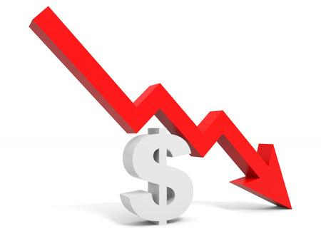 달러 기호 화살표를 그래프. 3D 그림. 스톡 콘텐츠