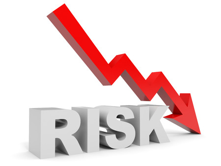 Graph down risk arrow. 3D illustration. Stock Photo