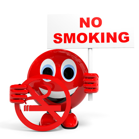 warning against a white background: No smoking. Illustration with 3d character. Stock Photo