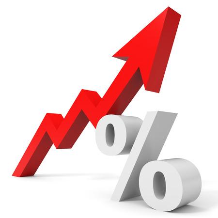 上向きの矢印はパーセント グラフします。3 D イラスト。