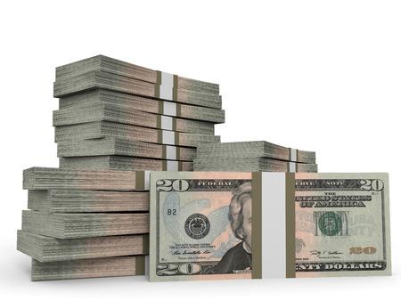 Stapels van het geld. Twintig dollar. 3D illustratie.