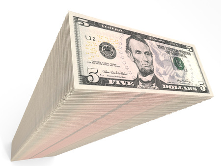 five dollars: Stack of banknotes. Five dollars. 3D illustration. Stock Photo