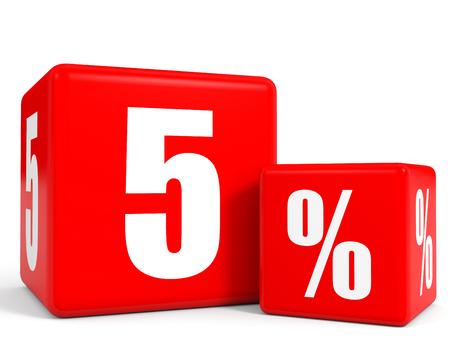 빨간색 판매 큐브입니다. 5 % 할인. 3D 그림입니다. 스톡 콘텐츠