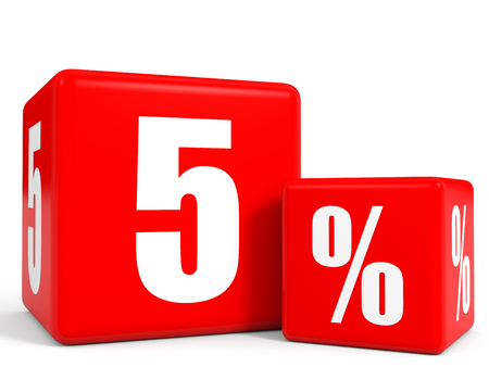 Red sale cubes. Five percent discount. 3D illustration. Stock Photo