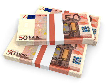 Fifty euro banknotes background. 3D illustration.