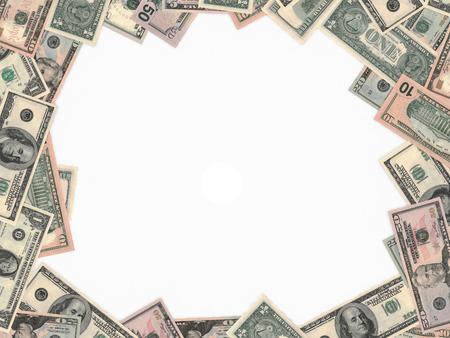 whitebackground: Different dollar bank notes on whitebackground.
