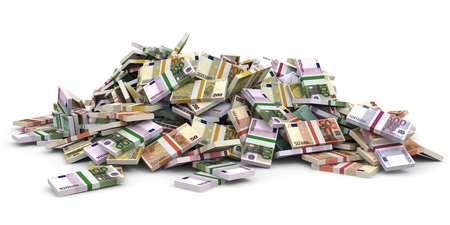 Money heap. Different Euro bank notes. 3D illustration. Stock Photo