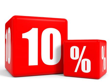 빨간색 판매 큐브. 10 % 할인. 3D 그림.
