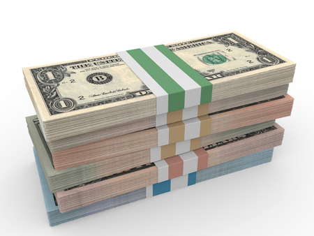 50 dollar bill: Money stack. Different dollar bank notes.3D illustration.
