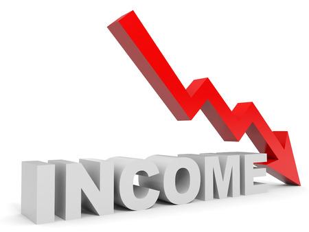 ingresos: Graficar flecha hacia abajo de la renta. Ilustración 3D. Foto de archivo