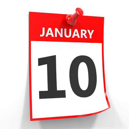 tenth: 10 january calendar sheet with red pin on white background. Illustration.