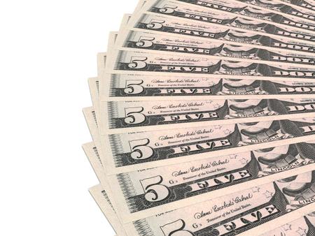 signos de pesos: Ventilador del dinero. Cinco d�lares. Ilustraci�n 3D.