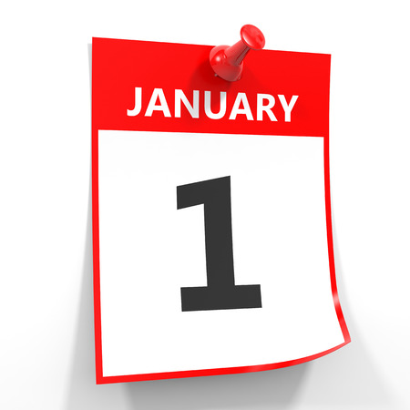 1 january: 1 january calendar sheet with red pin on white background. Illustration.