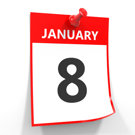 calendar date: 8 january calendar sheet with red pin on white background. Illustration. Stock Photo
