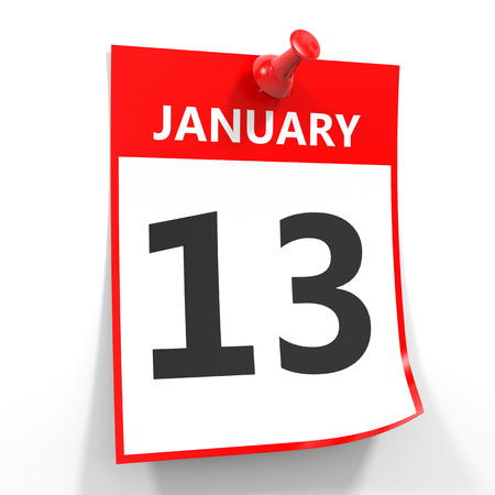 13th: 13 january calendar sheet with red pin on white background. Illustration. Stock Photo