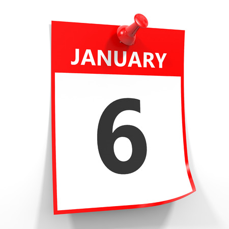 calendar date: 6 january calendar sheet with red pin on white background. Illustration. Stock Photo