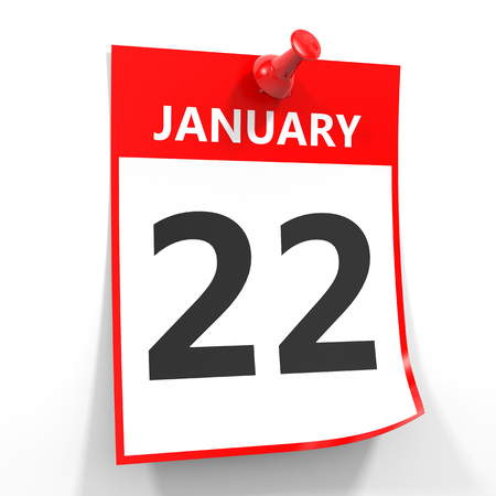 twenty second: 22 january calendar sheet with red pin on white background. Illustration.