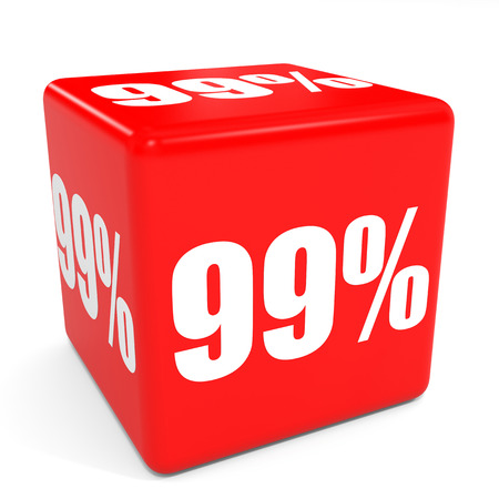 99: 3D red sale cube. 99 percent discount. Illustration.