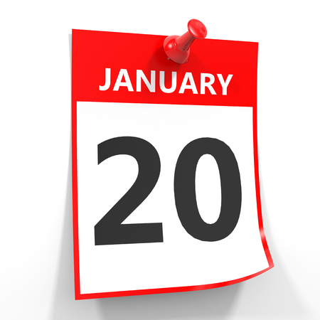 20th: 20 january calendar sheet with red pin on white background. Illustration.