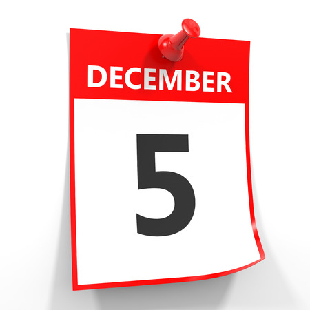 5 december: 5 december calendar sheet with red pin on white background. Illustration. Stock Photo