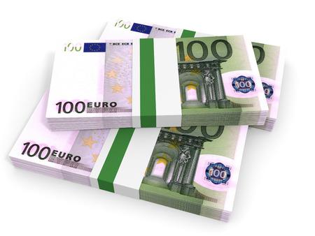 one hundred euro banknote: One hundred euro banknotes background. 3D illustration. Stock Photo