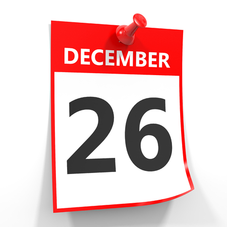twenty six: 26 december calendar sheet with red pin on white background. Illustration. Stock Photo