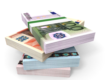 banco dinero: Money stacks. Different Euro bank notes. 3D illustration. Foto de archivo