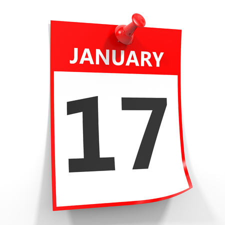 17th: 17 january calendar sheet with red pin on white background. Illustration. Stock Photo