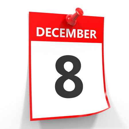 december calendar: 8 december calendar sheet with red pin on white background. Illustration.