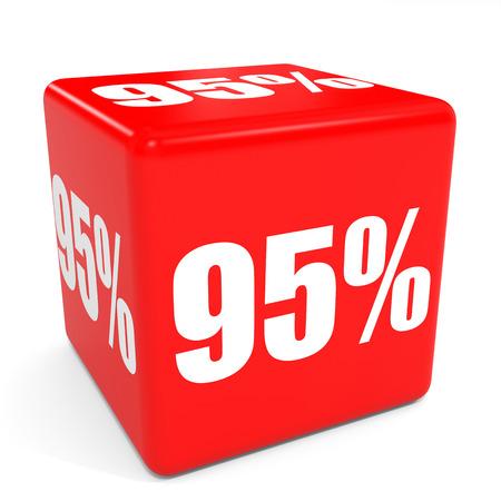 95: 3D red sale cube. 95 percent discount. Illustration.