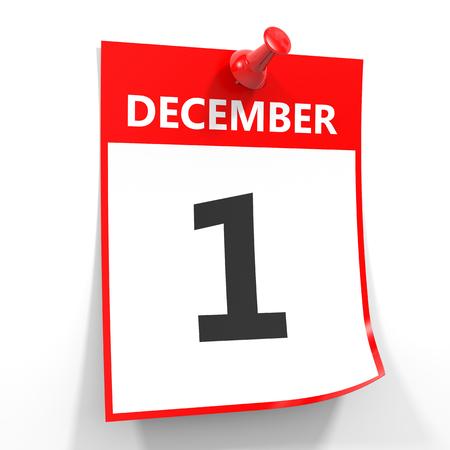 december calendar: 1 december calendar sheet with red pin on white background. Illustration.