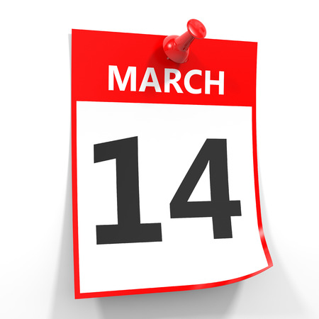 14: 14 march calendar sheet with red pin on white background. Illustration.