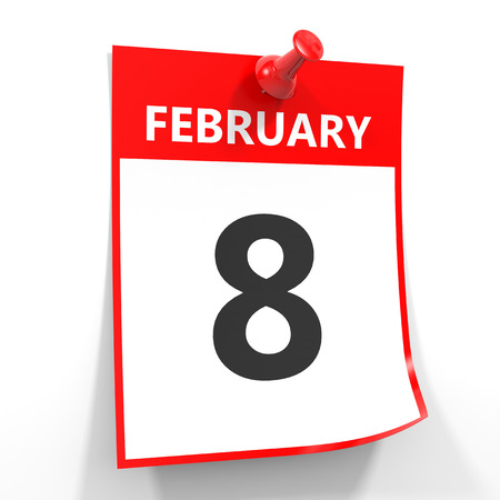 red pin: 8 february calendar sheet with red pin on white background. Illustration. Stock Photo