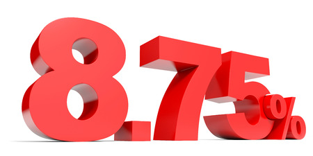 selling points: Red eight point seven five percent off. Discount 8.75 percent. 3D illustration. Stock Photo