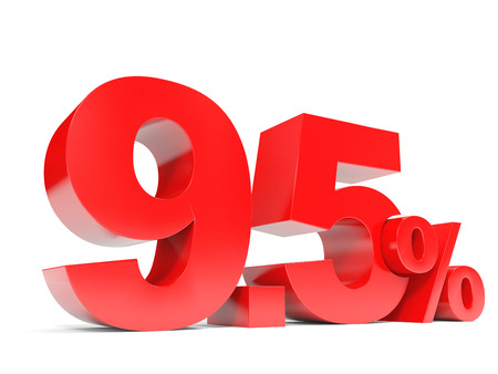 selling points: Red nine point five percent off. Discount 9.5 percent. 3D illustration.